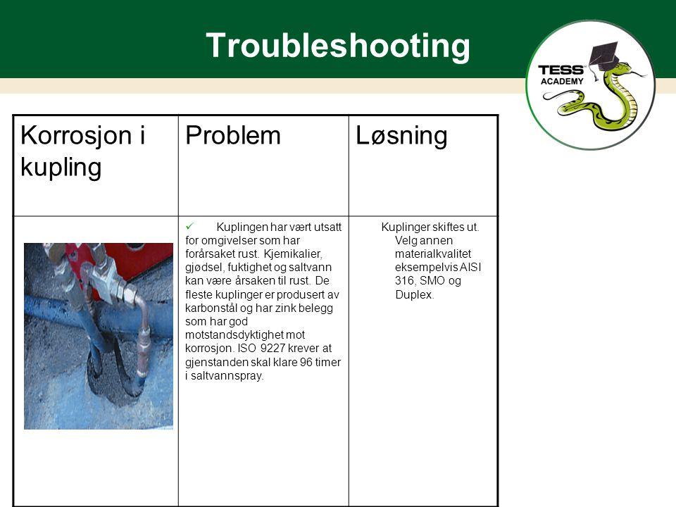 Troubleshooting Korrosjon i kupling Problem Løsning