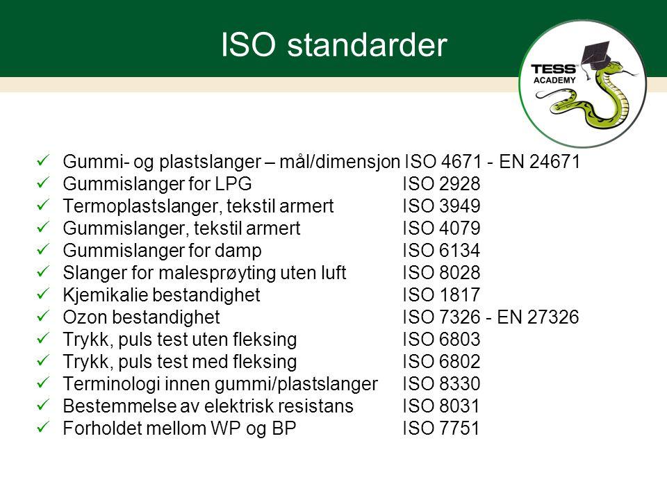 ISO standarder Gummi- og plastslanger – mål/dimensjon ISO 4671 - EN 24671. Gummislanger for LPG ISO 2928.
