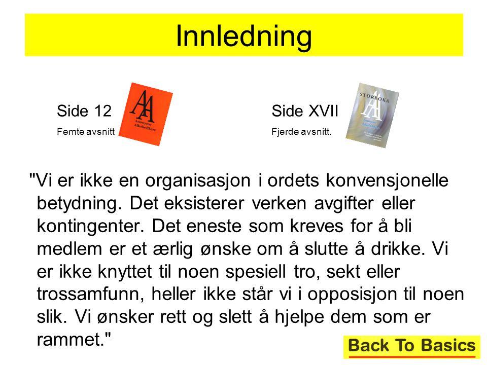Innledning Side 12. Femte avsnitt. Side XVII. Fjerde avsnitt.