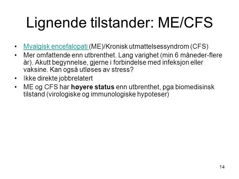 Lignende tilstander: ME/CFS