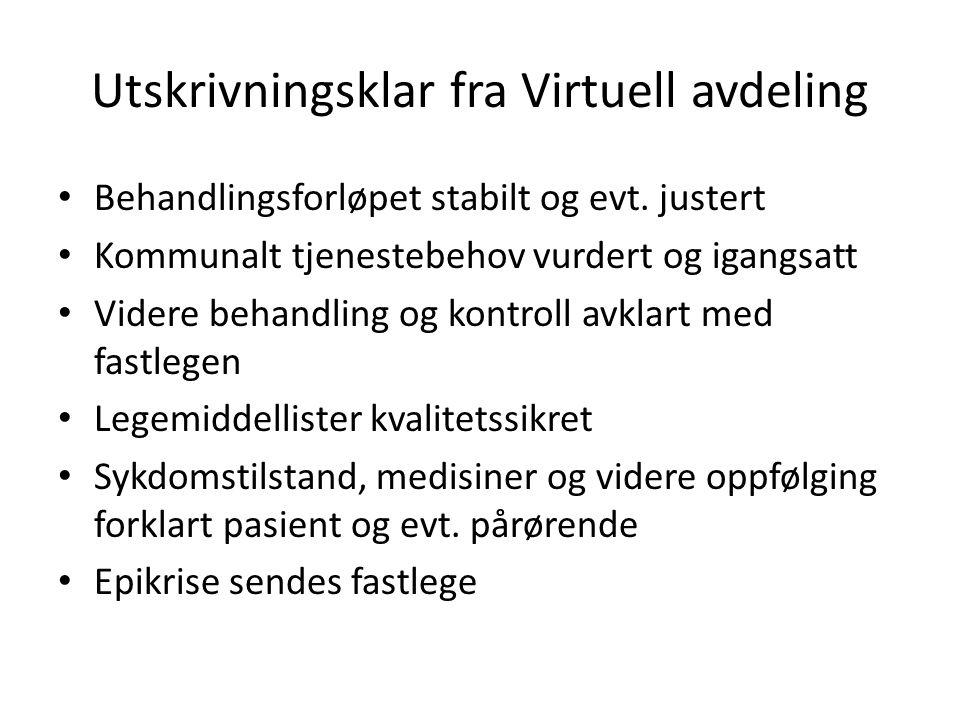 Utskrivningsklar fra Virtuell avdeling