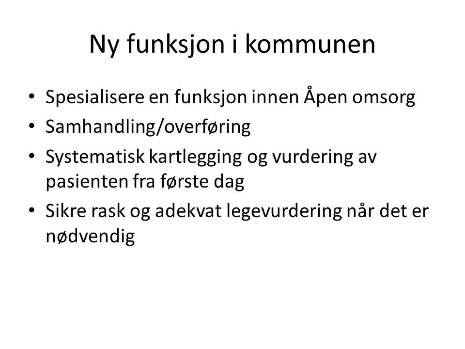Ny funksjon i kommunen Spesialisere en funksjon innen Åpen omsorg