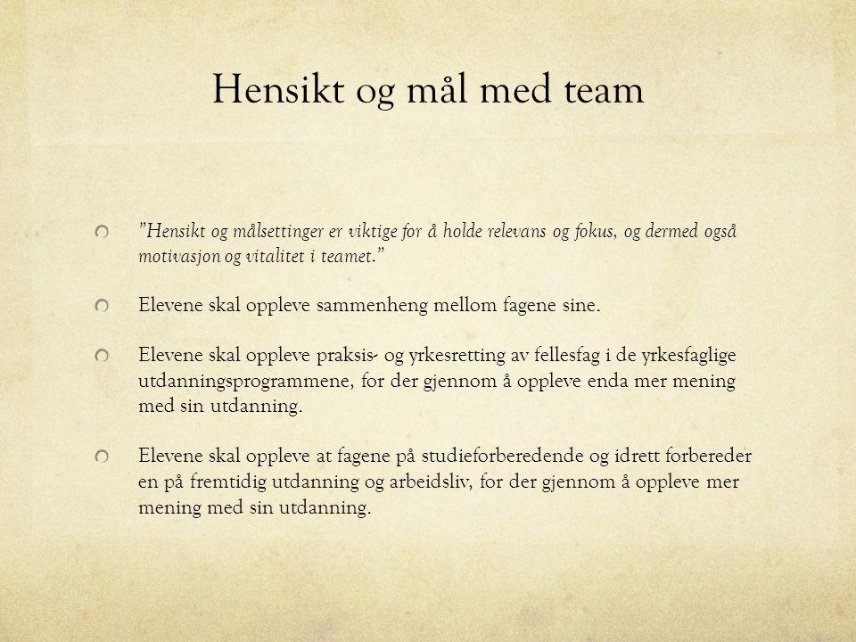 Hensikt og mål med team Hensikt og målsettinger er viktige for å holde relevans og fokus, og dermed også motivasjon og vitalitet i teamet.