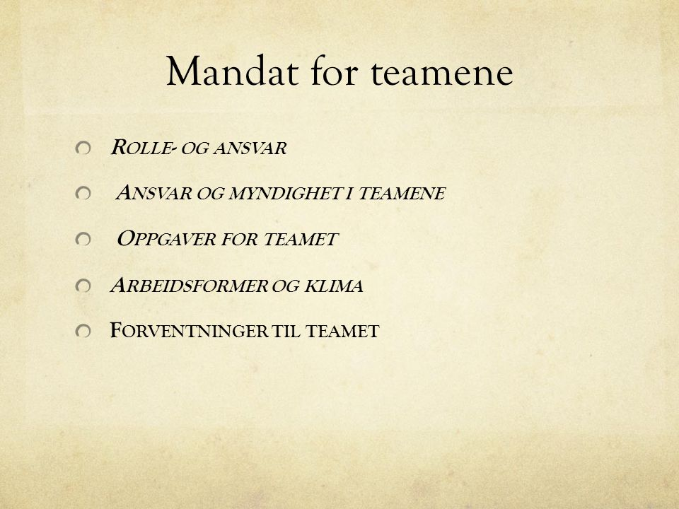Mandat for teamene Rolle- og ansvar Ansvar og myndighet i teamene