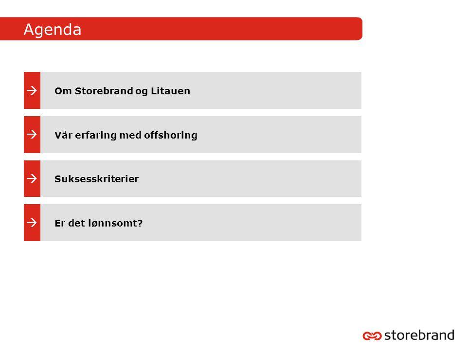 Agenda     Om Storebrand og Litauen Vår erfaring med offshoring