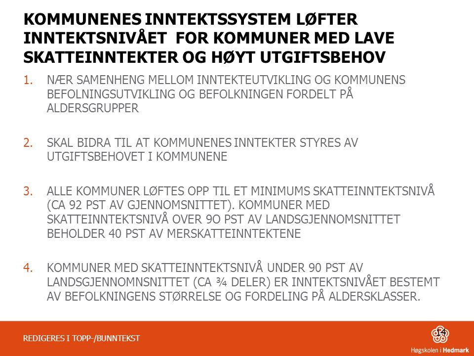 KOMMUNENES INNTEKTSSYSTEM LØFTER INNTEKTSNIVÅET FOR KOMMUNER MED LAVE SKATTEINNTEKTER OG HØYT UTGIFTSBEHOV