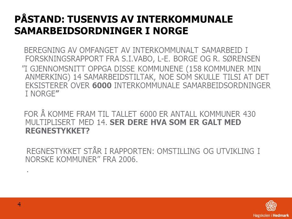 PÅSTAND: TUSENVIS AV INTERKOMMUNALE SAMARBEIDSORDNINGER I NORGE