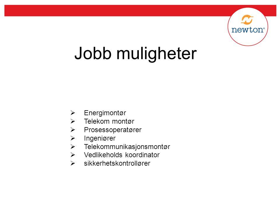 Jobb muligheter Energimontør Telekom montør Prosessoperatører
