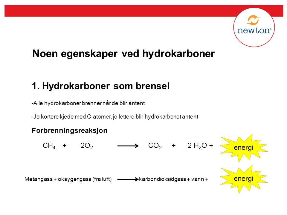 Noen egenskaper ved hydrokarboner