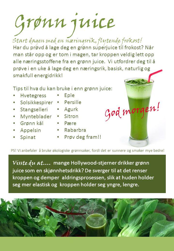 Grønn juice ...mange toppidrettsutøvere drikker hvetegressjuice for å forbedre blodets evne til oksygentransport