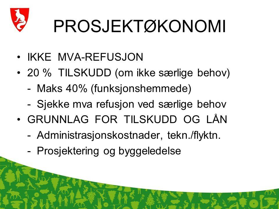 PROSJEKTØKONOMI IKKE MVA-REFUSJON