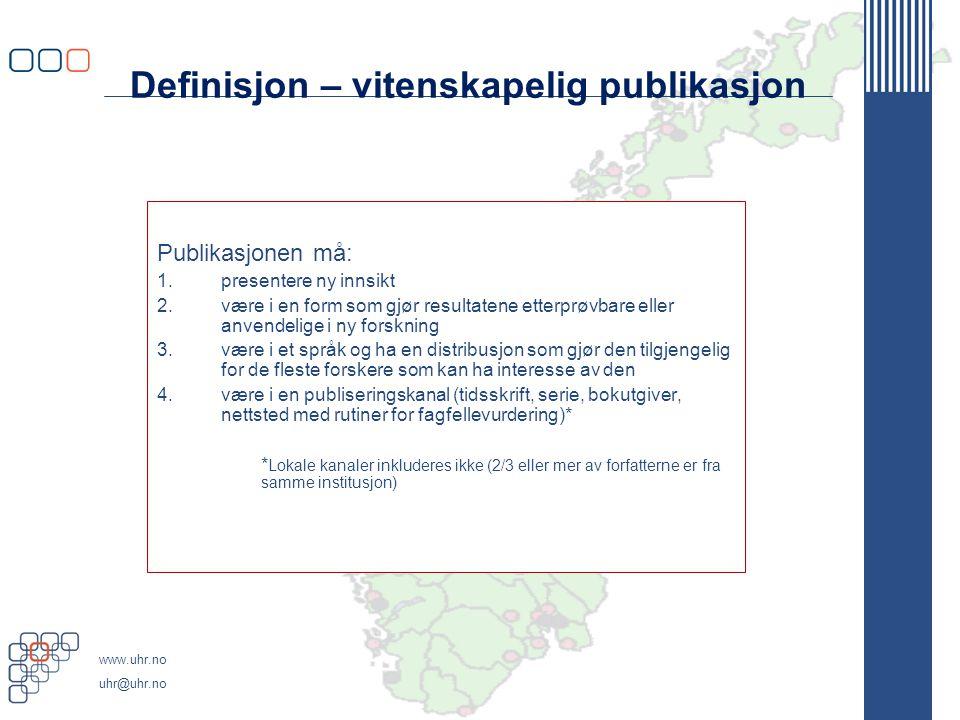 Definisjon – vitenskapelig publikasjon