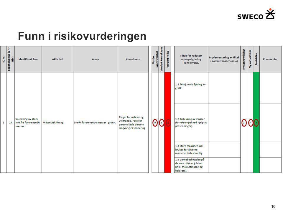Funn i risikovurderingen