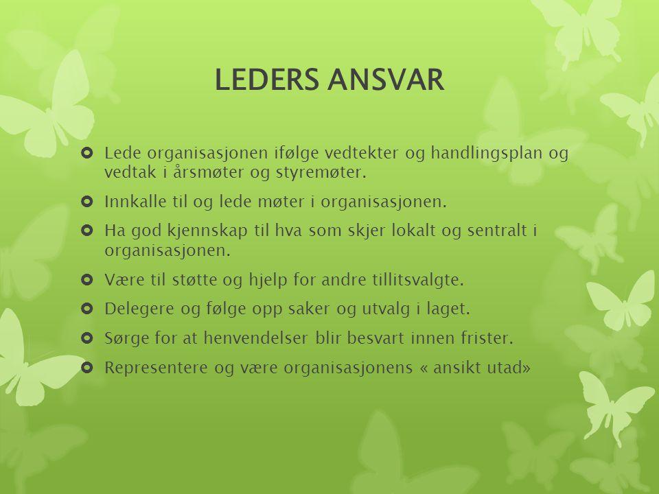 LEDERS ANSVAR Lede organisasjonen ifølge vedtekter og handlingsplan og vedtak i årsmøter og styremøter.
