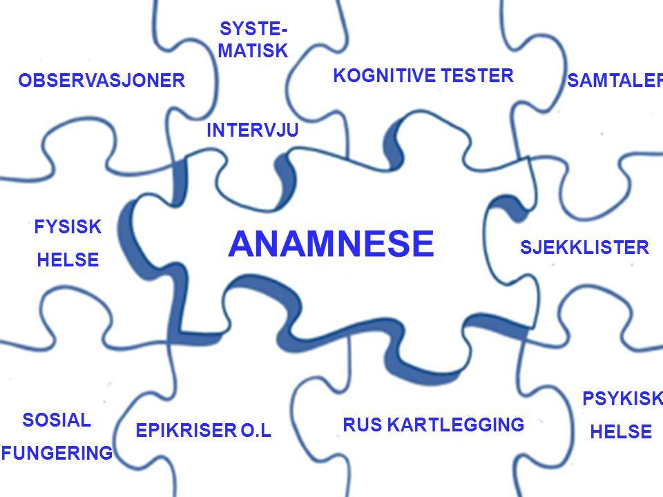 ANAMNESE SYSTE-MATISK INTERVJU KOGNITIVE TESTER OBSERVASJONER SAMTALER