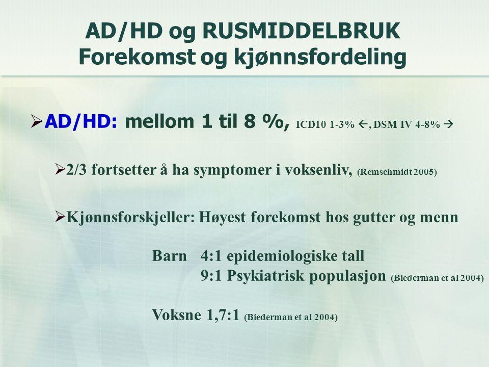 AD/HD og RUSMIDDELBRUK Forekomst og kjønnsfordeling
