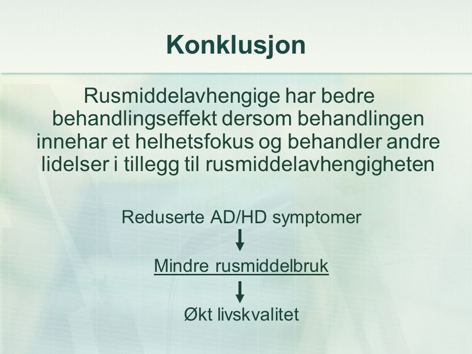 Reduserte AD/HD symptomer