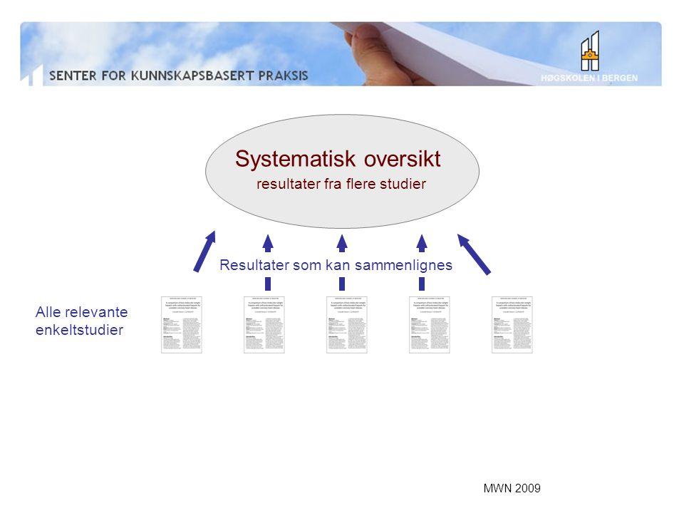Systematisk oversikt resultater fra flere studier
