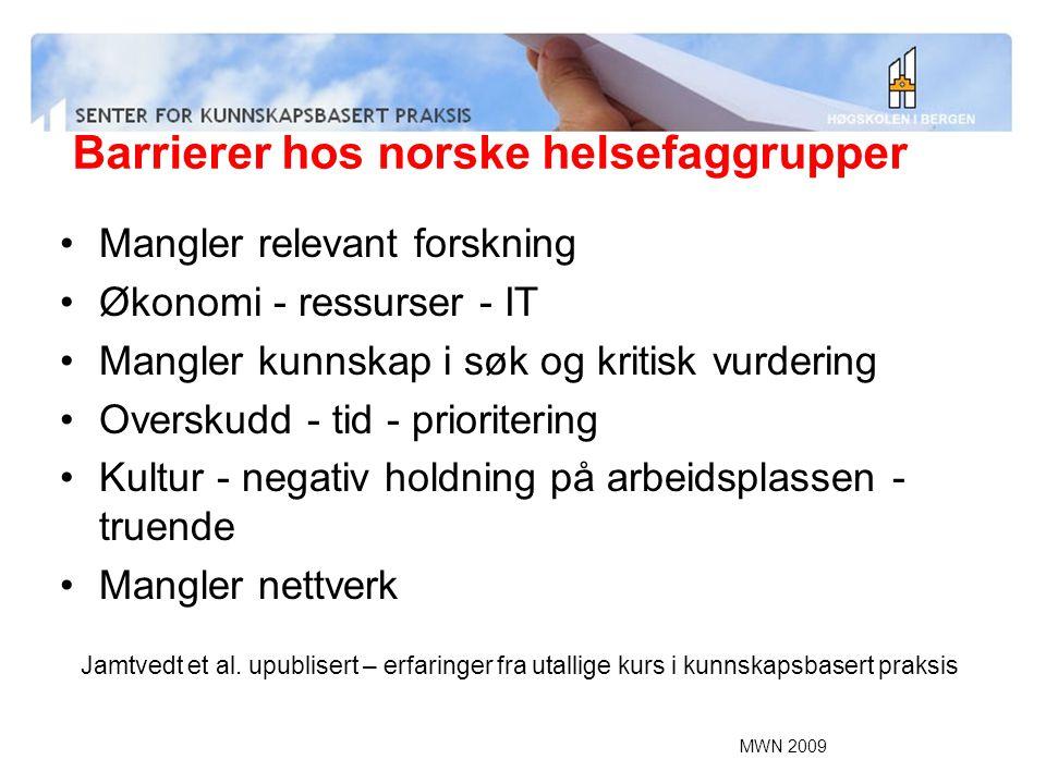Barrierer hos norske helsefaggrupper