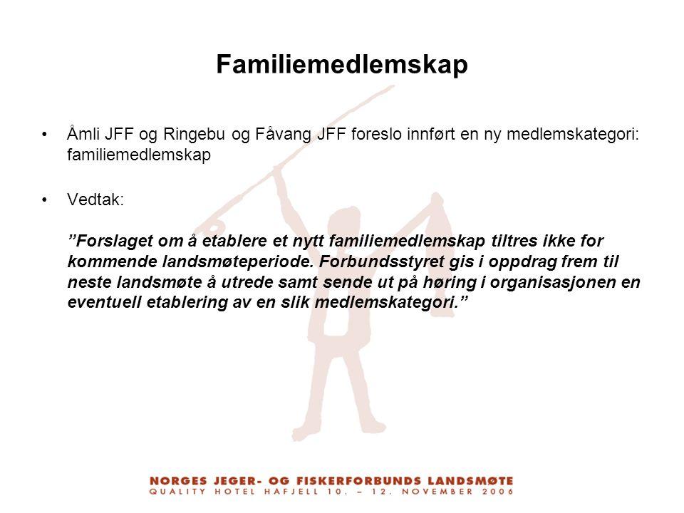 Familiemedlemskap Åmli JFF og Ringebu og Fåvang JFF foreslo innført en ny medlemskategori: familiemedlemskap.