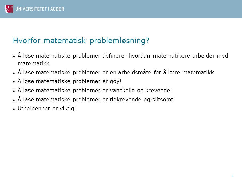 Hvorfor matematisk problemløsning