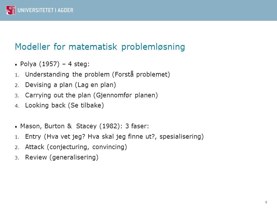 Modeller for matematisk problemløsning