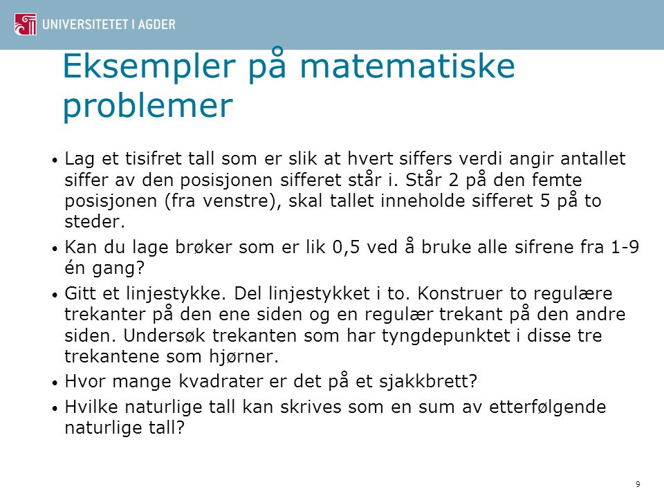 Eksempler på matematiske problemer