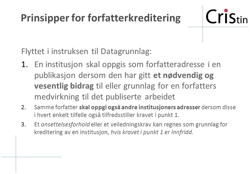 Prinsipper for forfatterkreditering