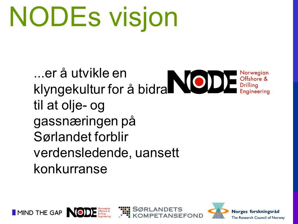 NODEs visjon ...er å utvikle en klyngekultur for å bidra til at olje- og gassnæringen på Sørlandet forblir verdensledende, uansett konkurranse.