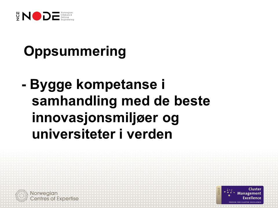Oppsummering - Bygge kompetanse i samhandling med de beste innovasjonsmiljøer og universiteter i verden.