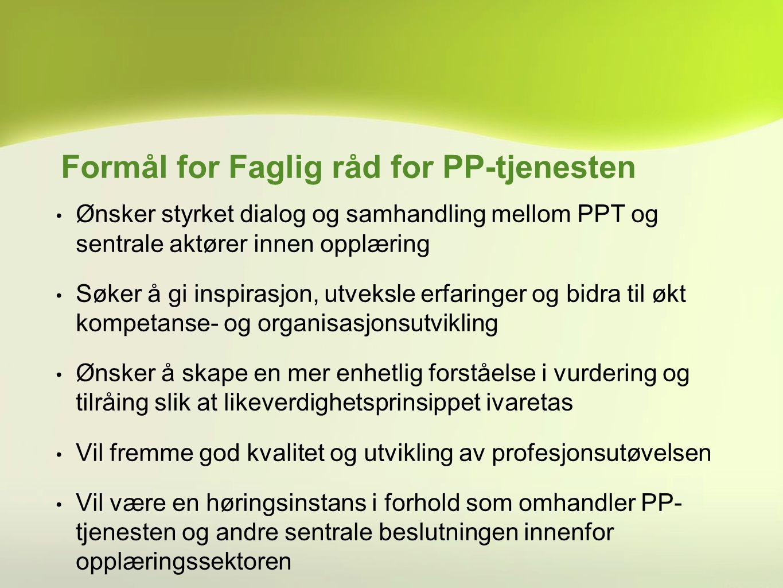 Formål for Faglig råd for PP-tjenesten