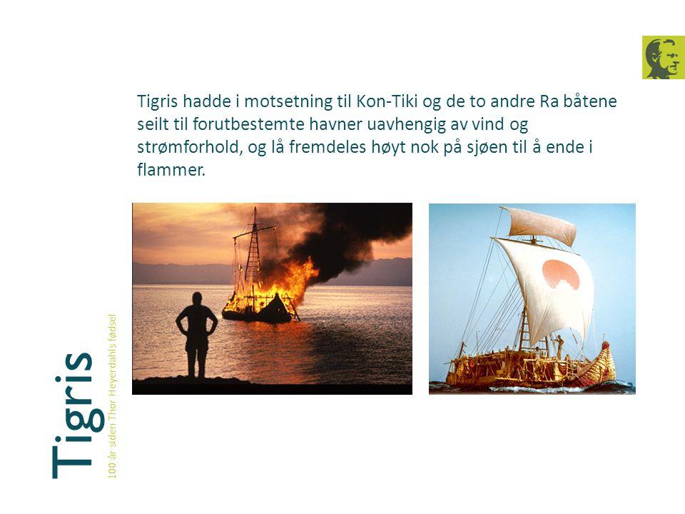 Tigris hadde i motsetning til Kon-Tiki og de to andre Ra båtene seilt til forutbestemte havner uavhengig av vind og strømforhold, og lå fremdeles høyt nok på sjøen til å ende i flammer.