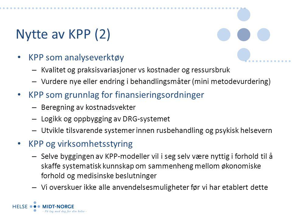 Nytte av KPP (2) KPP som analyseverktøy