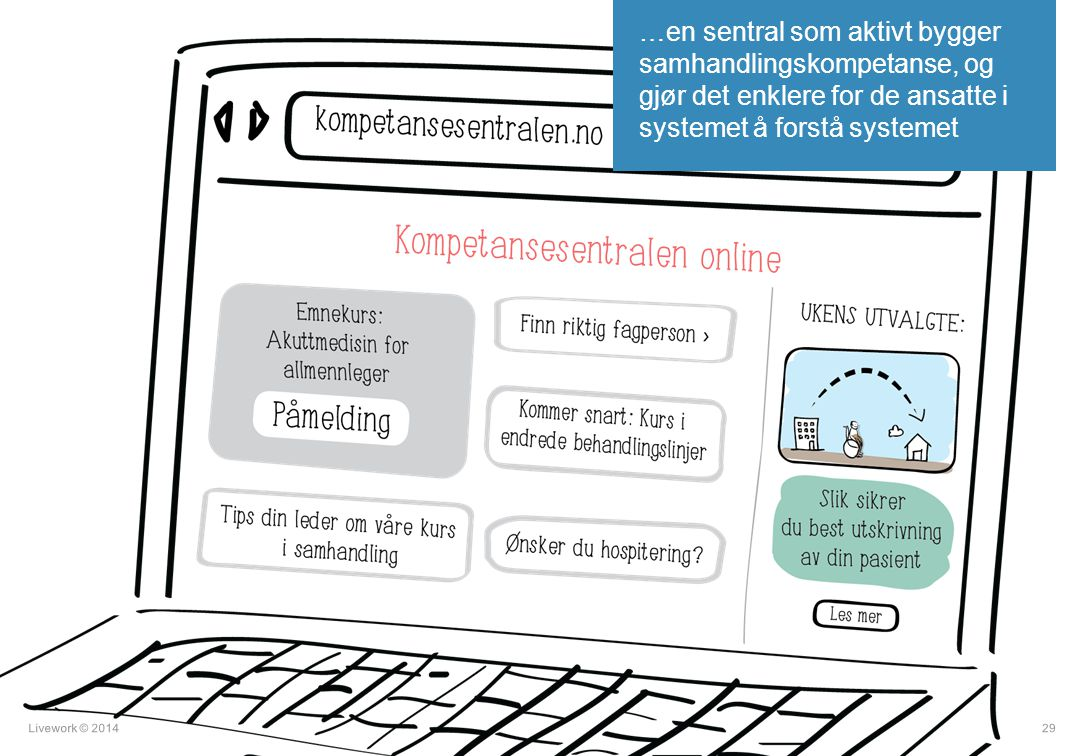…en sentral som aktivt bygger samhandlingskompetanse, og gjør det enklere for de ansatte i systemet å forstå systemet