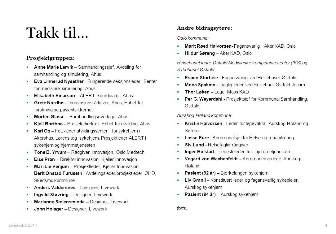 Takk til… Andre bidragsytere: Prosjektgruppen: Oslo kommune: