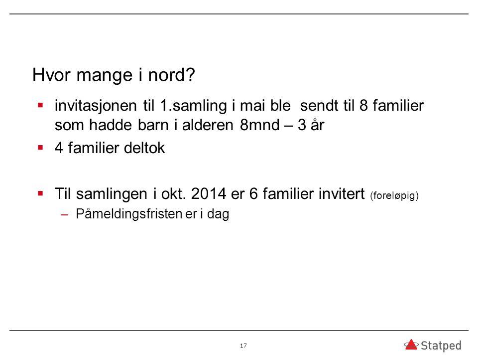 Hvor mange i nord invitasjonen til 1.samling i mai ble sendt til 8 familier som hadde barn i alderen 8mnd – 3 år.