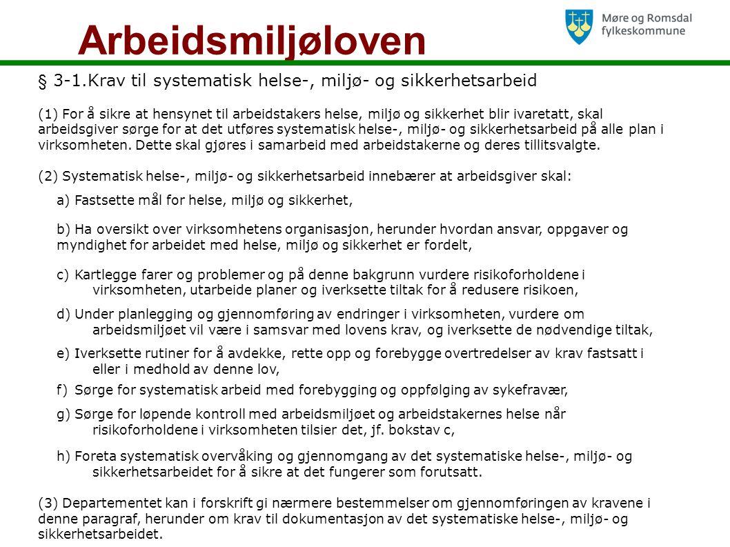 Arbeidsmiljøloven § 3-1.Krav til systematisk helse-, miljø- og sikkerhetsarbeid.
