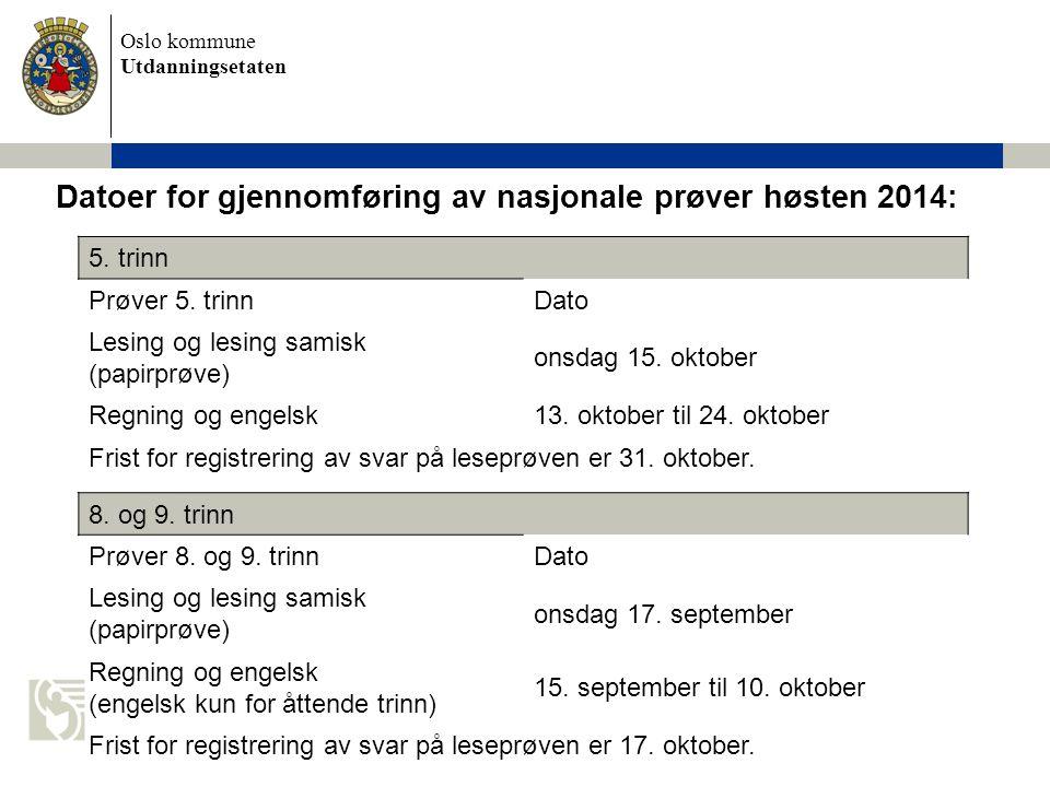 Datoer for gjennomføring av nasjonale prøver høsten 2014: