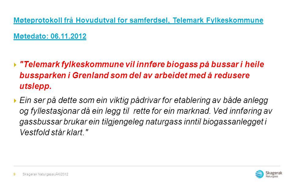 Møteprotokoll frå Hovudutval for samferdsel, Telemark Fylkeskommune Møtedato: 06.11.2012