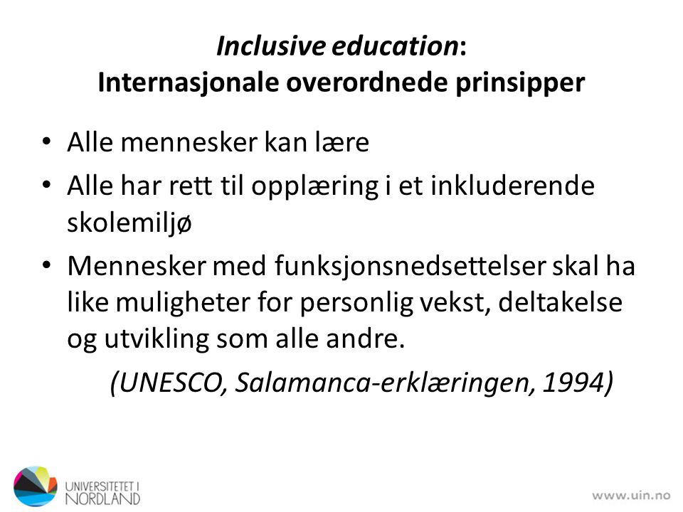 Inclusive education: Internasjonale overordnede prinsipper