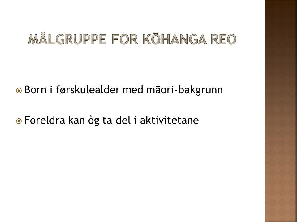 Målgruppe for Kōhanga Reo