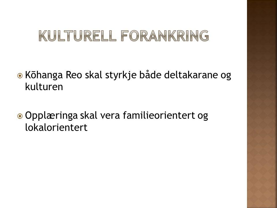 Kulturell forankring Kōhanga Reo skal styrkje både deltakarane og kulturen.