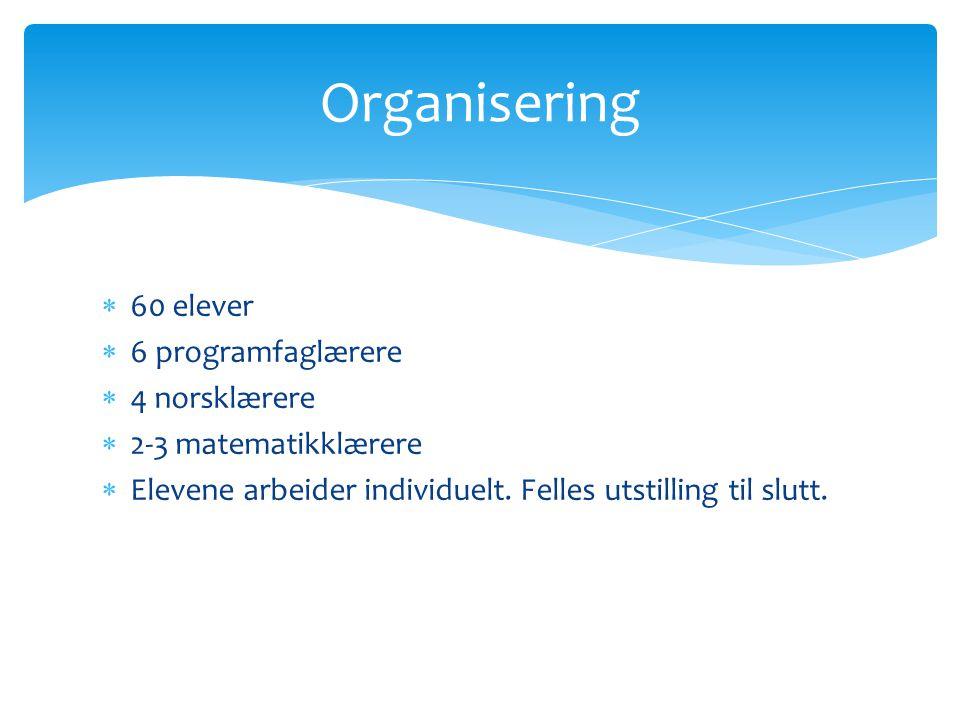 Organisering 60 elever 6 programfaglærere 4 norsklærere