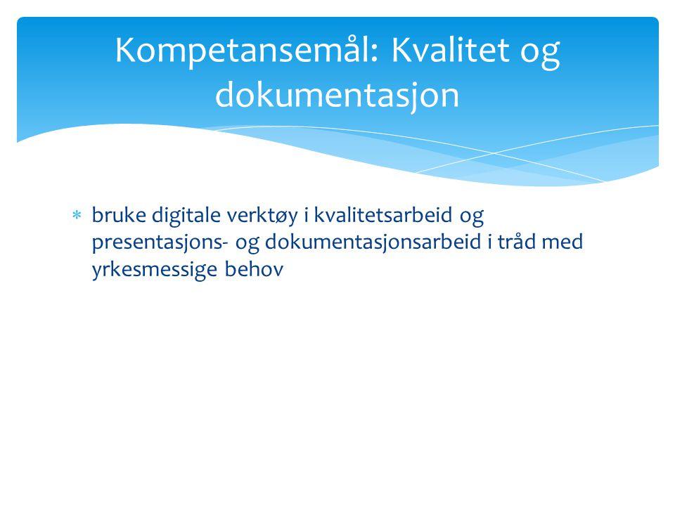 Kompetansemål: Kvalitet og dokumentasjon