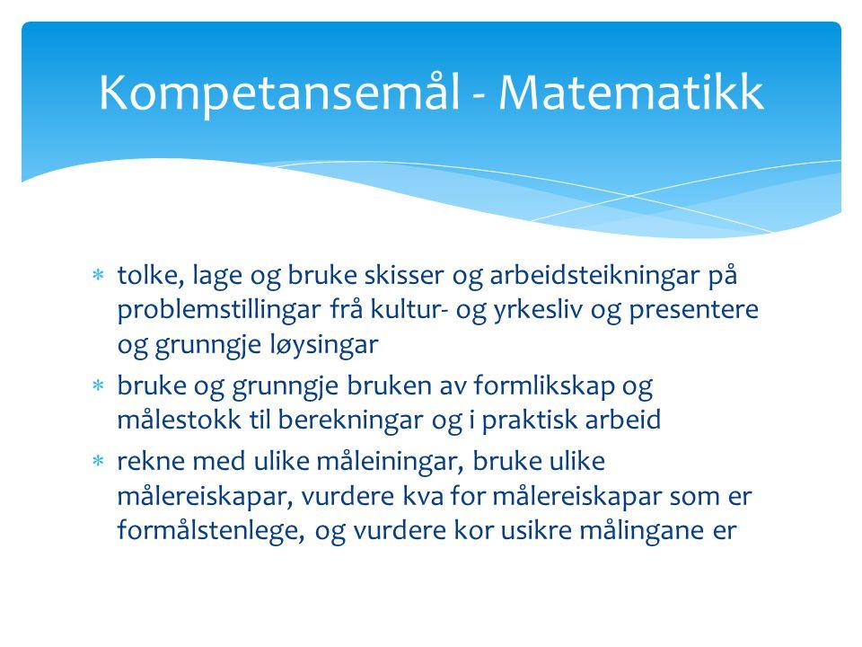 Kompetansemål - Matematikk