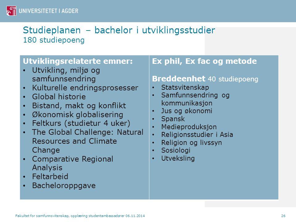 Studieplanen – bachelor i utviklingsstudier 180 studiepoeng