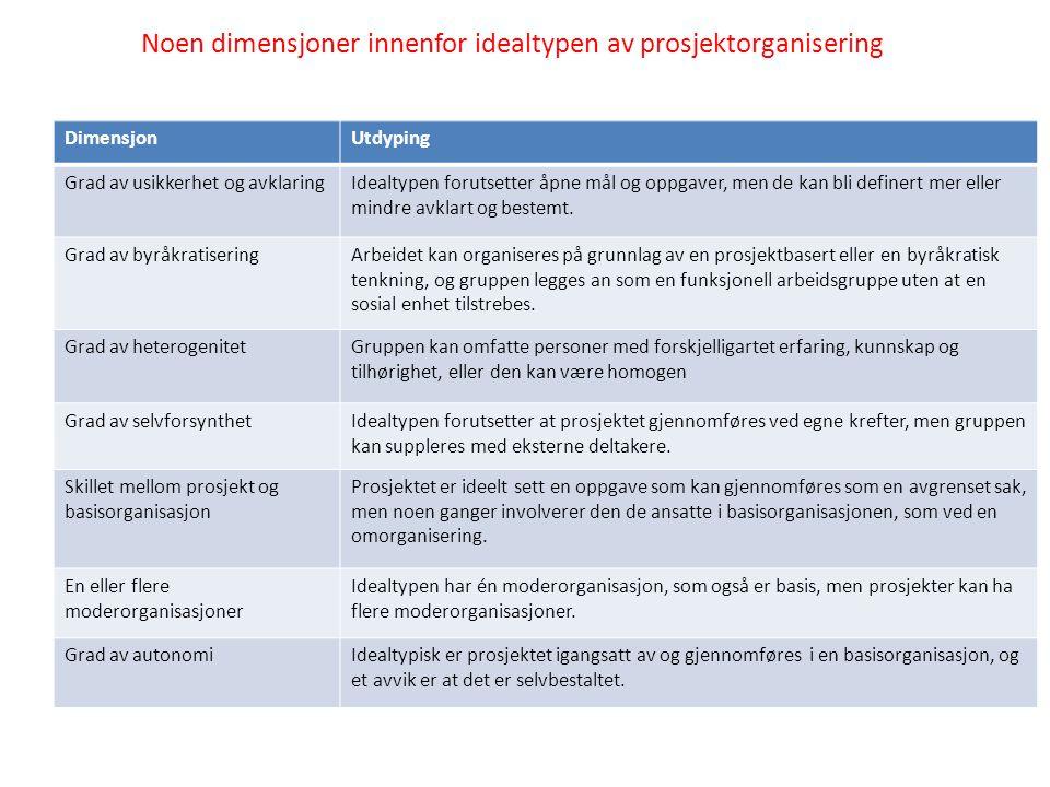 Noen dimensjoner innenfor idealtypen av prosjektorganisering