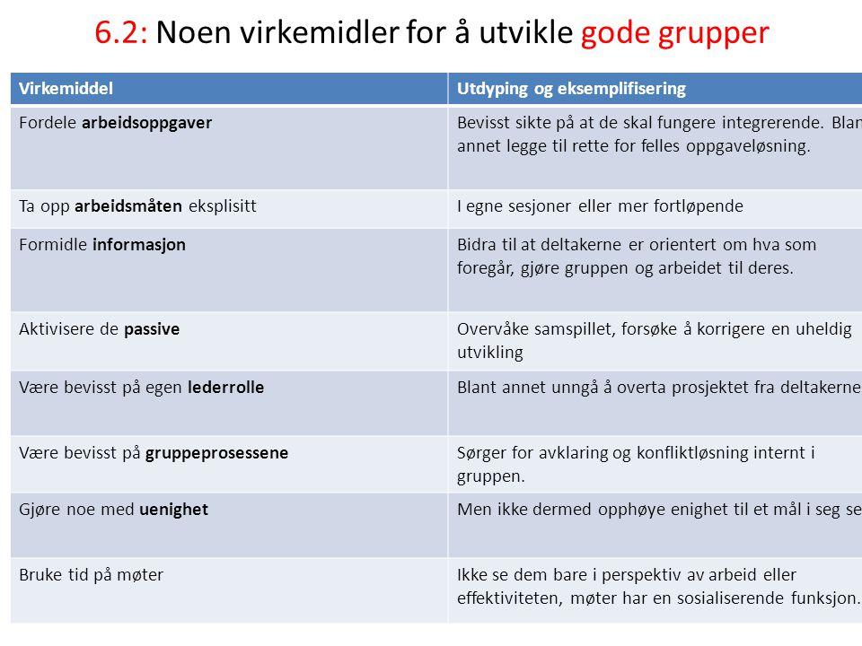 6.2: Noen virkemidler for å utvikle gode grupper