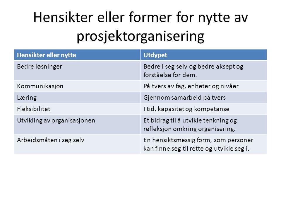Hensikter eller former for nytte av prosjektorganisering