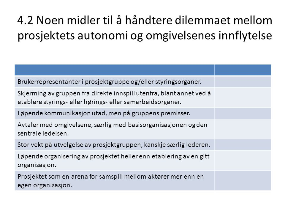 4.2 Noen midler til å håndtere dilemmaet mellom prosjektets autonomi og omgivelsenes innflytelse